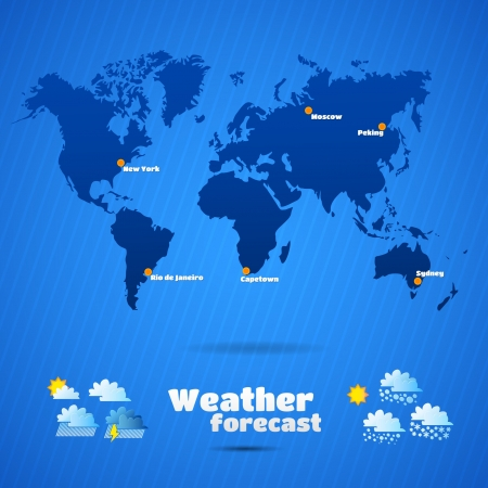 weather forecast vector illustration  map of the continents of the Earth  super illustration Vector