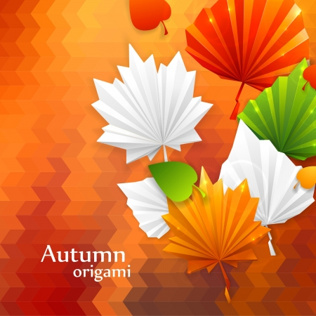 abstract autumn leaf background with origami effect