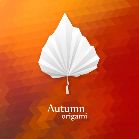 Autumn leaf origami  The folded white paper on geometry background  Vector