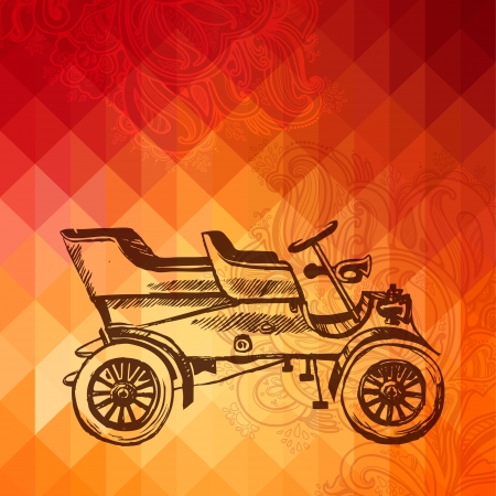 Retro Automobile Vintage Car  illustration, GEOMETRIC PATTERN Vector