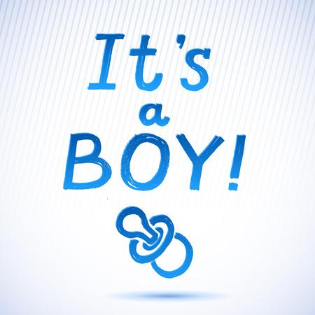 it s a boy: Baby Shower  It s A Boy Greeting Card  cute baby boy card  vector illustration