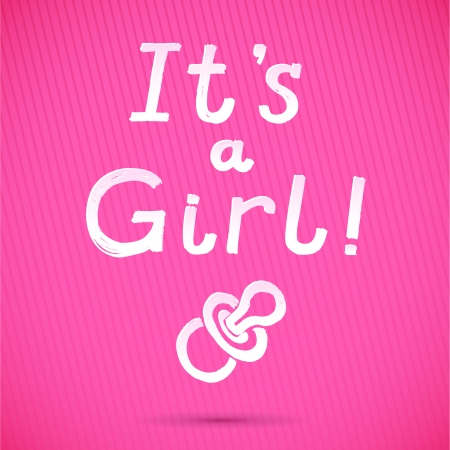 Baby Shower  It s A Girl Greeting Card  cute baby girl card  vector illustration Vector