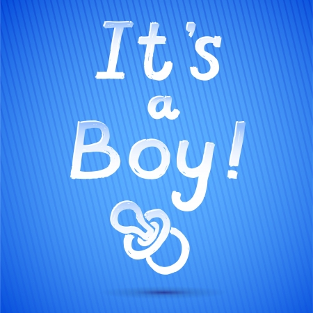 Baby Shower  It s A Boy Greeting Card  cute baby boy card  vector illustration