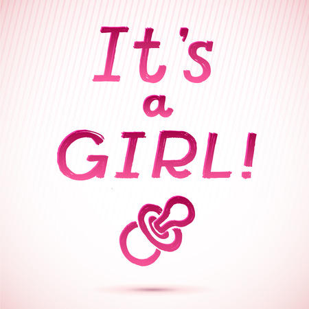 it girl: Baby Shower  It s A Girl Greeting Card  cute baby girl card  vector illustration