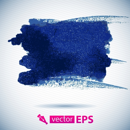 dry brush: Vector watercolor ink spot  Blue wet brushstroke on canvas texture   Dry brush strokes   Abstract сomposition for design elements