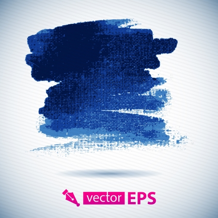 Vector watercolor ink spot  Blue wet brushstroke on canvas texture   Dry brush strokes   Original watercolor pained on canvas, scanned and traced  Illustration
