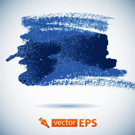 Vector watercolor ink spot  Blue wet brushstroke on canvas texture   Dry brush strokes   Abstract �omposition for design elements