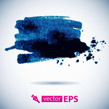 Vector watercolor ink spot  Blue wet brushstroke on canvas texture   Dry brush strokes   Original watercolor pained on canvas, scanned and traced  Vettoriali
