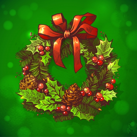 Christmas & New year holidays vector hand drawn illustration with xmas wreath