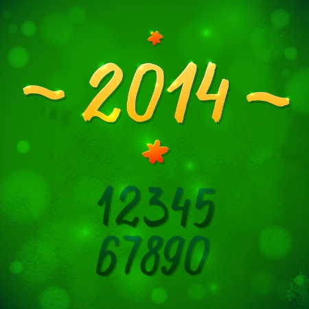 2014, greeting the new year  Green vector illustration with watercolor texture  Light and glare of the sun  Strokes of paint figures template Stock Vector - 23685215