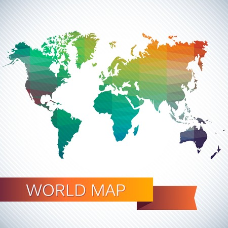 Bright vector map of the globe. Bright triangles and polygons, pattern Vector
