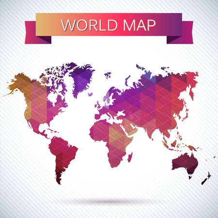 Bright vector map of the globe. Bright triangles and polygons, pattern Ilustrace