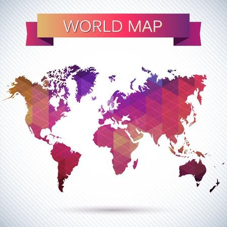 Lumineux carte vectorielle du globe. Triangles et des polygones lumineux, modèle Banque d'images - 24097921