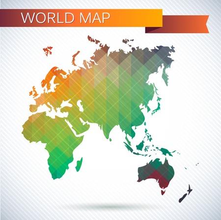 hemisphere: Eastern Hemisphere globe. Bright vector map of the world. Asia, Africa, Europe, Australia