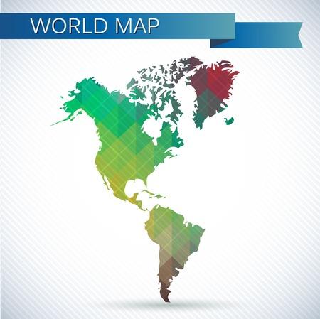 西半球のグローブ。明るいベクトル世界地図北アメリカ、南アメリカ、グリーンランド