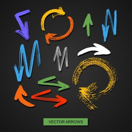 vector arrows on a black background  brush stroke Vettoriali