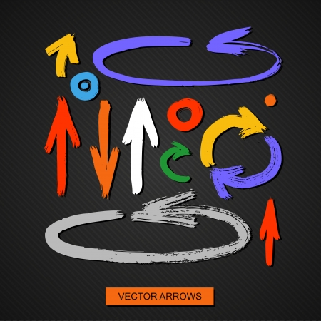 vector arrows on a black background  brush stroke Ilustração