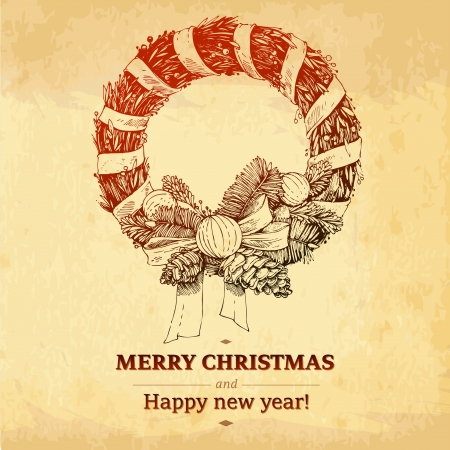 christma: Christmas vintage card with wreath on light paper background monochrome Christma s New Year winter holidays decorative illustration card centerpiece  Red label MERRY CHRISTMAS