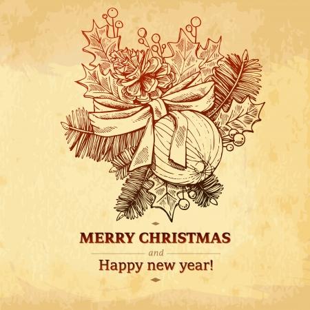 fur tree: Mano di Natale disegnato albero di pelliccia per Natale design simboli di vacanza dicembre e immagini per l'uso in progettazione grafica di Buon Natale e Felice Anno Nuovo Sfondo Vintage Old paper texture