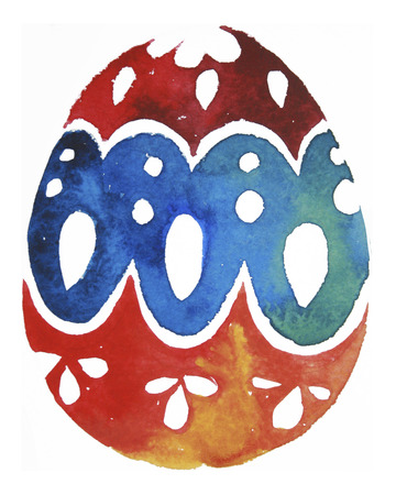 Watercolor painted egg. Easter eggs of watercolor texture Stock Photo