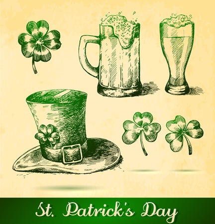 taverns: Two beers with clovers for St Patricks day