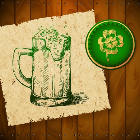 Beer with clover  Vector