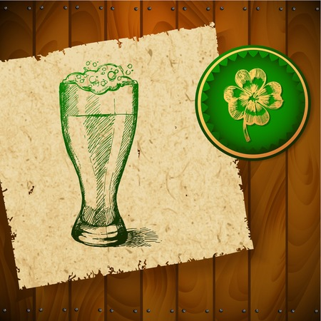 Beer with clover for St Patricks day  Vector