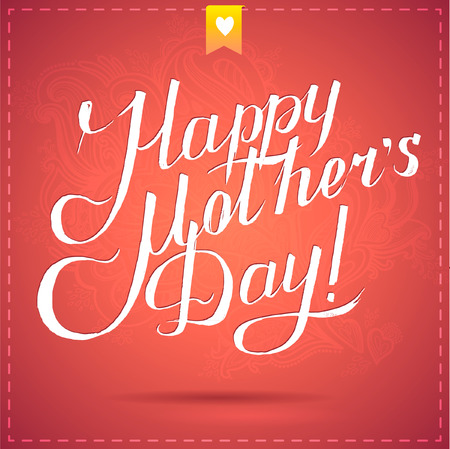 happy mothers day card with calligraphy. vector illustration