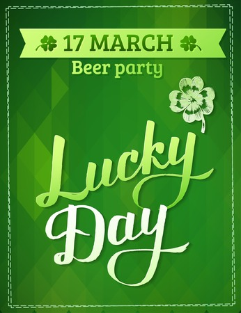 four leafed clover: Typographic Saint Patrick Day Card