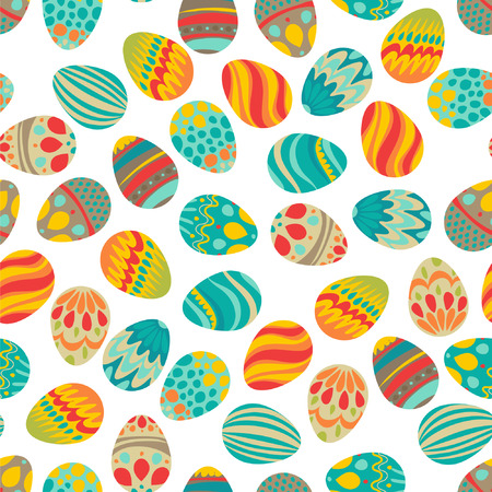 Happy Easter  Happy holiday eggs pattern, seamless background for your greeting card design  Cute decorated easter eggs Vector