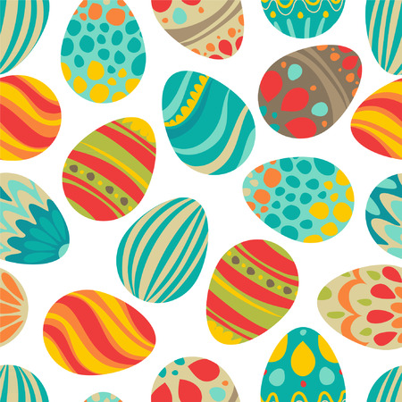 Cute decorated easter eggs Vector