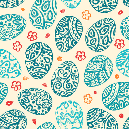 Doodle style decorated easter egg seamless pattern  Each egg is decorated with a different pattern  Vector file for editing and scaling  Vector