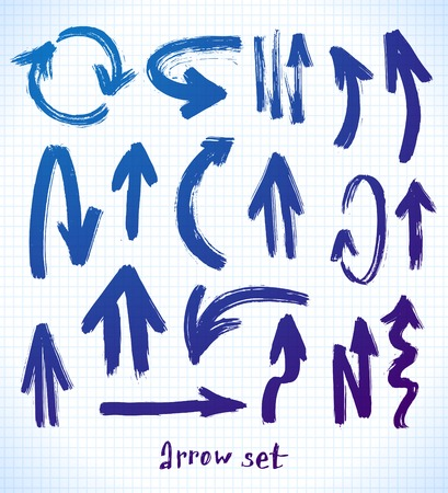 vector arrows on a black background. brush stroke