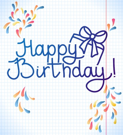 Happy Birthday card design. vector school paper illustration Vector