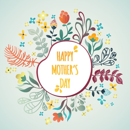 Happy Mothers Day! Flowers pattern decorative vector card illustration Ilustração