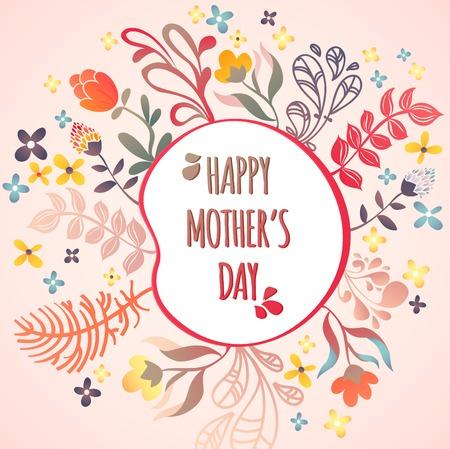幸せな母の日!花パターンの装飾的なベクトル イラスト カード