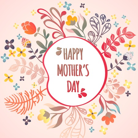 Happy Mothers Day! Flowers pattern decorative vector card illustration Illustration