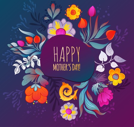 florist: Happy Mother s Day Card  Illustration