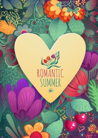 Bella cartolina d'auguri con la corona floreale illustrazione luminoso, carta per matrimonio, compleanno e altra festa e carino sfondo estate Archivio Fotografico - 27275201