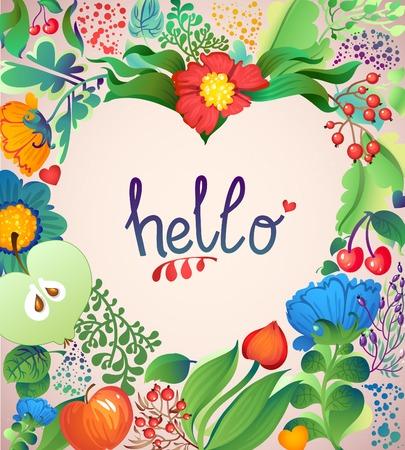 hello heart: Floral Heart Pattern Hello. Apples, flowers, tulip, poppy, chrysanthemum, green leaves