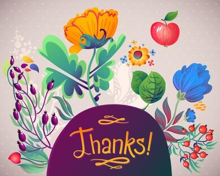 Floral Heart Pattern Thanks. Apples, flowers, tulip, poppy, chrysanthemum, green leaves