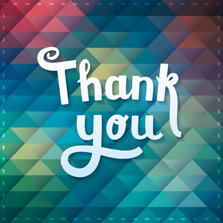 Thank you card on colorful magic geometric background