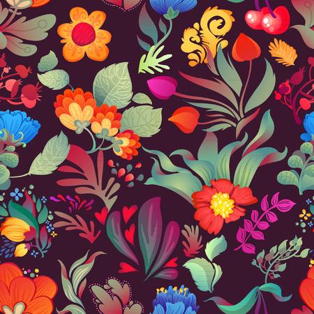 Flowers seamless pattern decorative card illustration
