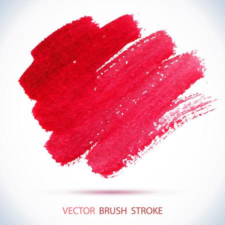 watercolor ink spot. Wet brush stroke on paper texture.  Vettoriali