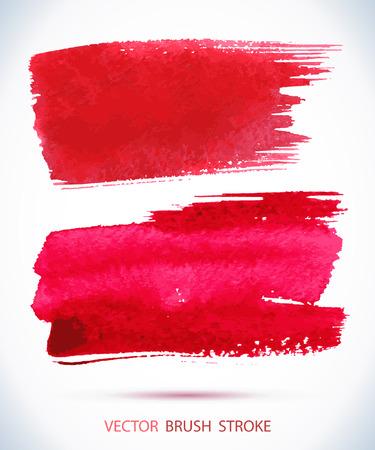 pincel: mancha de tinta acuarela. Pincelada mojado en la textura del papel. Vectores