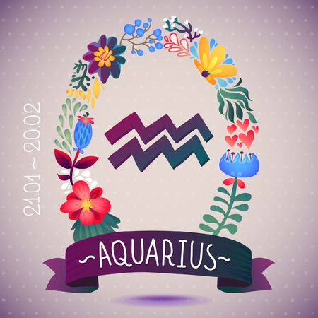 Zodiac sign AQUARIUS, in a sweet floral wreath  Horoscope sign, flowers, leaves and ribbon Vector