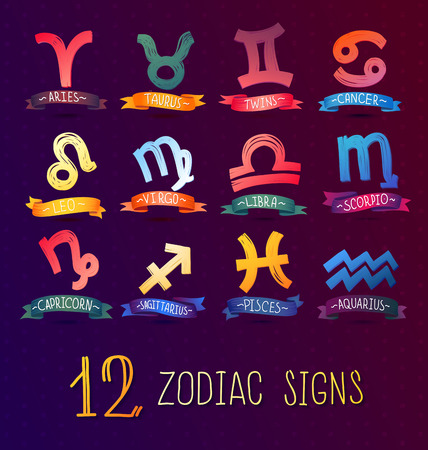 Zodiac Symbol icons on color background illustration