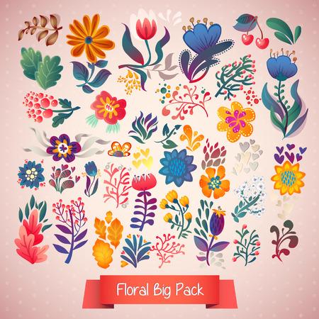 elegância: Conjunto de elegance flores Ilustração
