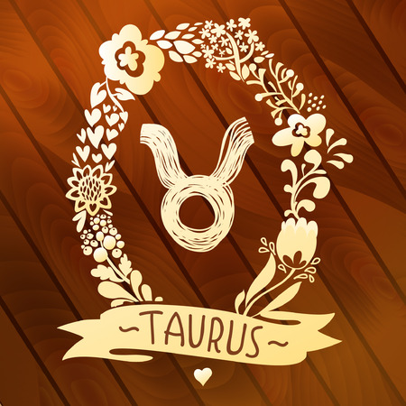 Zodiac sign Taurus, in a sweet gold floral wreath on vector wood planks Horoscope sign, flowers, leaves and ribbon