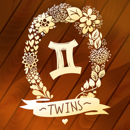 gemini zodiac: Zodiac sign Gemini  Twins , in a sweet gold floral wreath on vector wood planks  Horoscope sign, flowers, leaves and ribbon